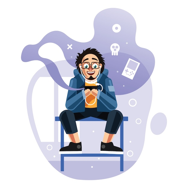 Man playing games on mobile phone Premium Vector