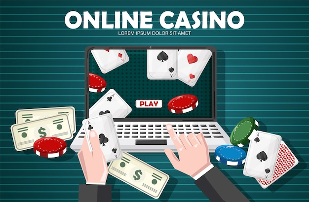 Man playing online casino with game objects on table Premium Vector