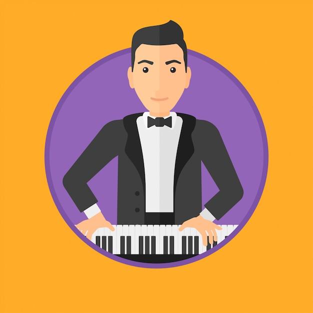 Man playing piano. Premium Vector