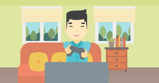 Man playing video game vector illustration. Premium Vector