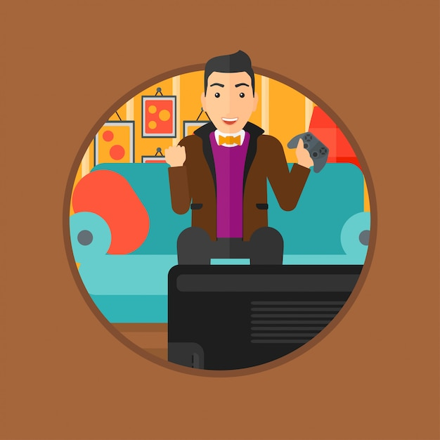 Man playing video game. Premium Vector