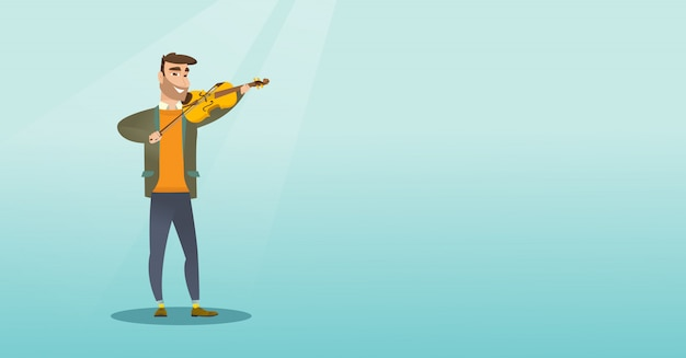 Man playing the violin Premium Vector