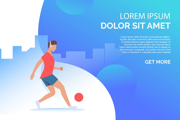 Man playing with ball and listening to music with sample text Free Vector