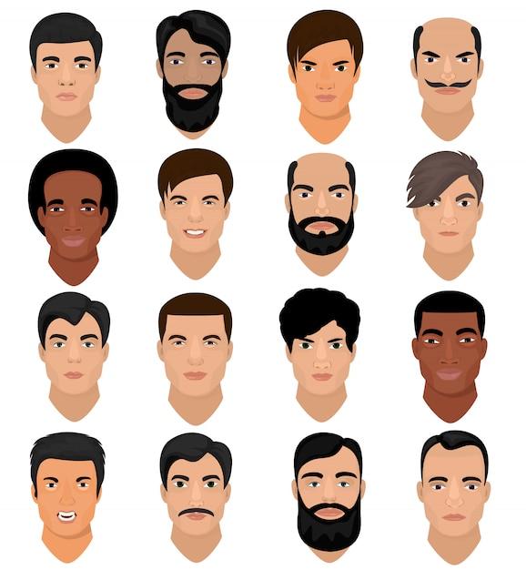 男の肖像ベクトル男性キャラクターの髪型を持つ少年と様々な肌のトーンと漫画の男らしい人の顔白い顔に男性的な顔の特徴のひげイラストセット Premiumベクター
