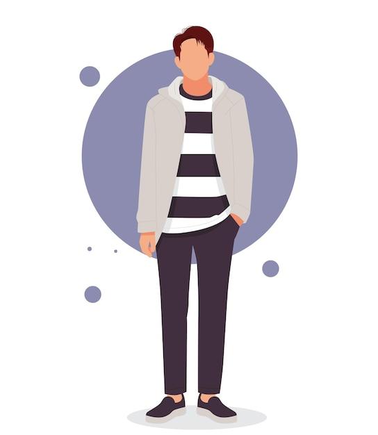 Мужчина позирует в стильных нарядах Premium векторы