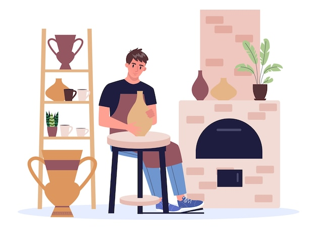 Man potter in apron making ceramic bowl and pot. craftsman and pottery. artist molding jar and jug.   in  style Premium Vector