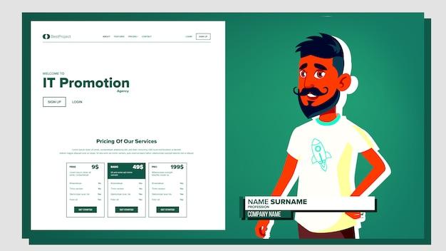 Man presentation in the company Premium Vector