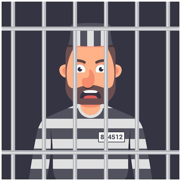 A man in prison illustration Premium Vector