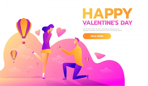 Man proposes a woman to marry him Premium Vector