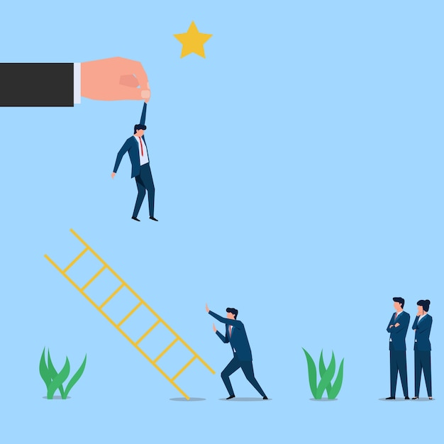 男ははしごを押して他の人を妨害し、チートと嫉妬のスターメタファーに到達します。ビジネスフラットコンセプトイラスト。 Premiumベクター