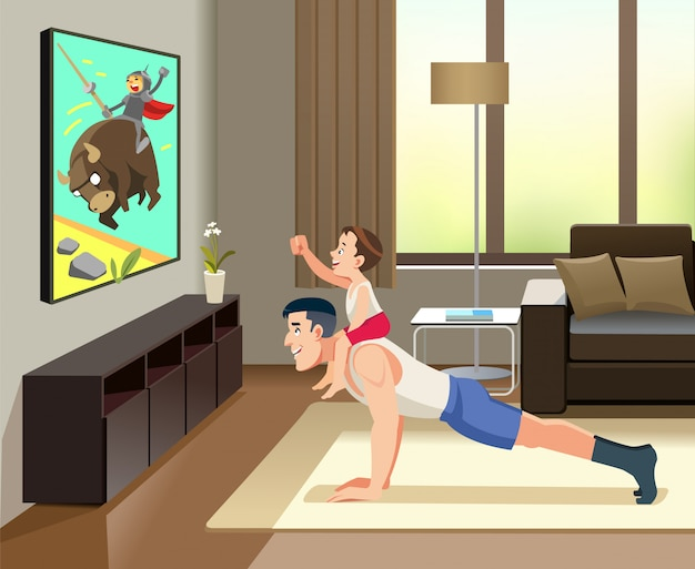 Man pushups from the floor with the boy on his back. this is image cheerful father of  with his little cute son spend time together, are watching tv. concept fatherhood child-rearing. cartoon Premium Vector