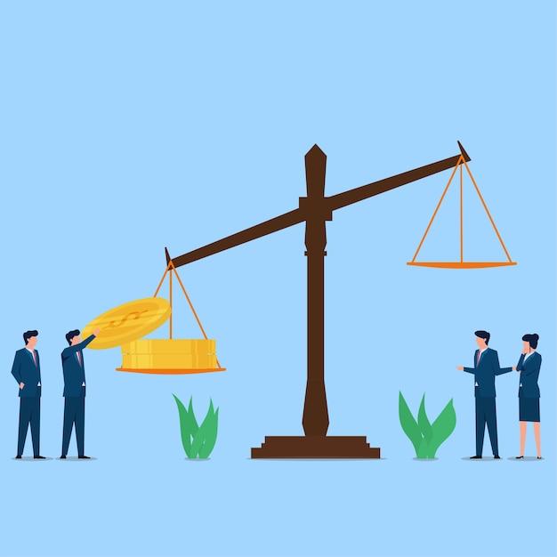 Человек положил монету на легальные весы, метафора закона против коррупции и взяточничества. Premium векторы