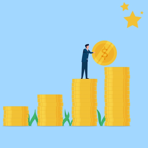 Man put coin to reach the star metaphor of target and dream Premium Vector
