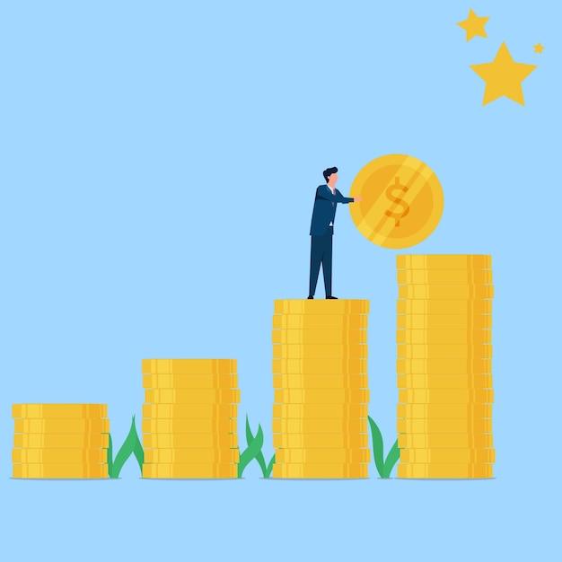 Человек положил монету, чтобы достичь звездной метафоры цели и мечты. бизнес плоская иллюстрация концепции. Premium векторы