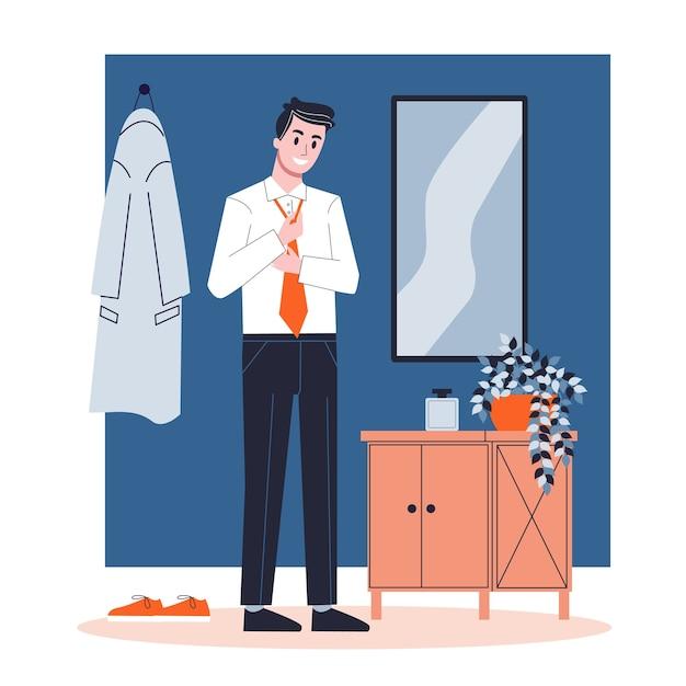 男はネクタイをつけた。ビジネス服、白いシャツ、黒いズボン。男のドレッシング。漫画のスタイルのイラスト Premiumベクター