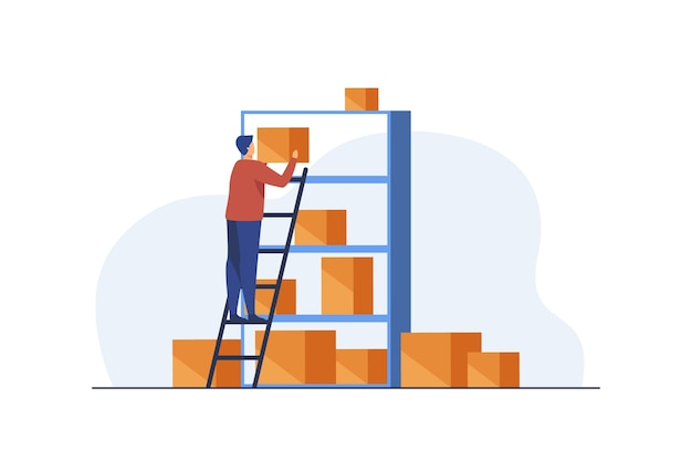 Man putting boxes on shelves of rack. Free Vector