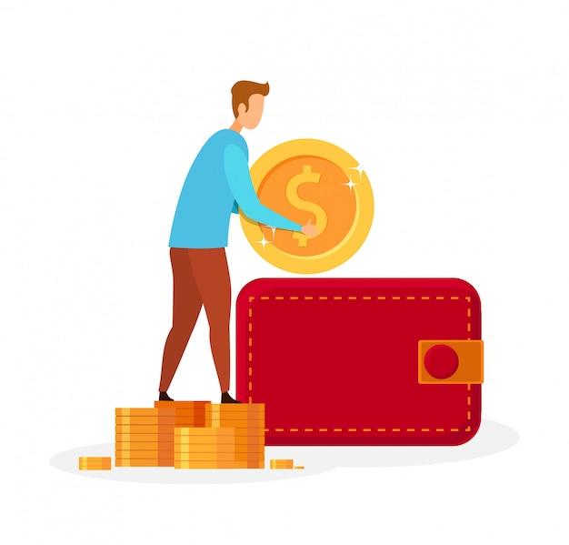 Man putting money in wallet vector illustration Premium Vector