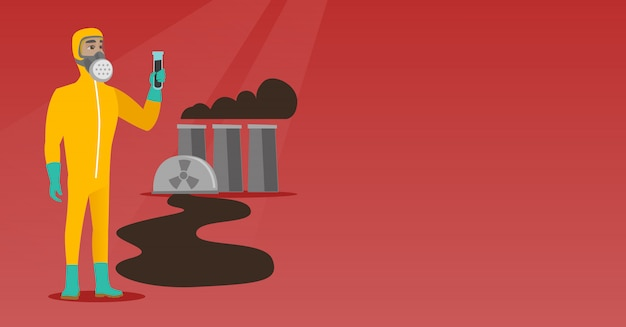 Man in radiation protective suit with test tube. Premium Vector