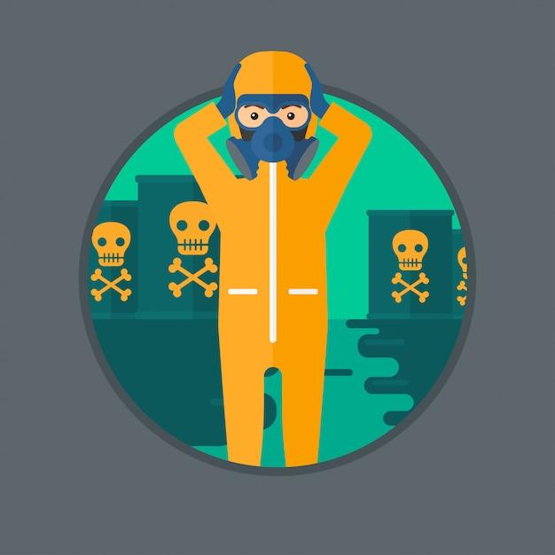 Man in radiation protective suit. Premium Vector