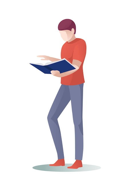 Man reader scroll pages, skip over paper book Premium Vector