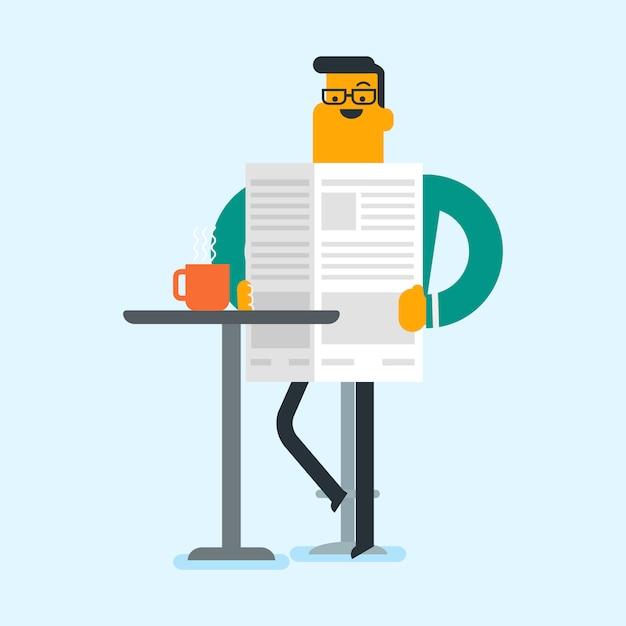 Человек читает газету и пить кофе. Premium векторы