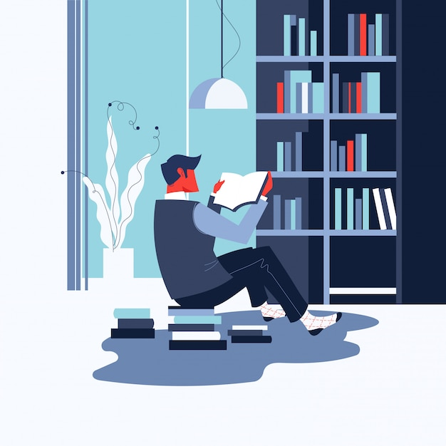 Man reading book or bookworm at home for world book day concept Premium Vector