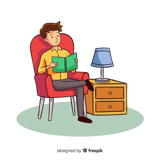 Man reading book in his armchair Free Vector