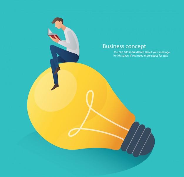 Man reading book sitting on light bulb Premium Vector