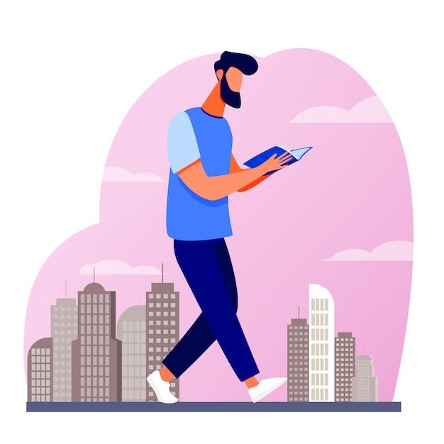 Uomo che legge il libro mentre si cammina in città Vettore gratuito