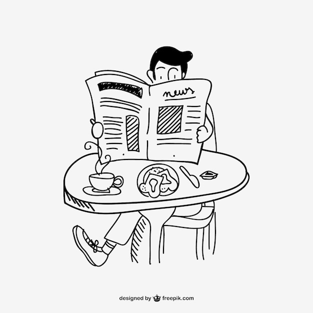 man reading newspaper drawing vector