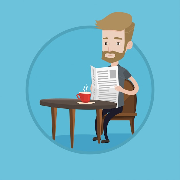 Man reading newspaper and drinking coffee. Premium Vector