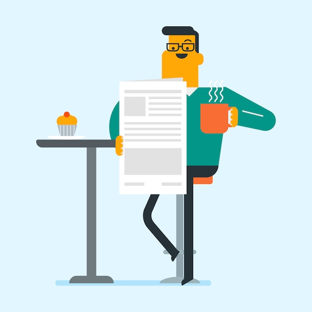 Man reading a newspaper and drinking coffee. Premium Vector