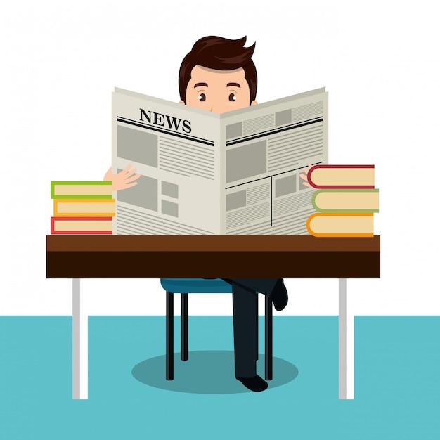 Man reading newspaper icon Premium Vector