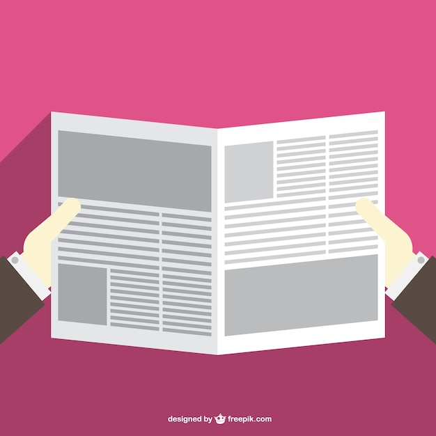 Man reading newspaper Free Vector
