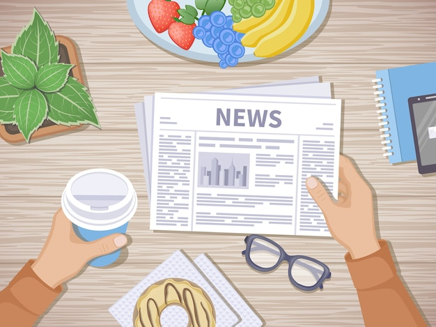Мужчина читает последние новости за завтраком. человеческие руки, держа кофе с собой и газету, телефон, фрукты, пончик, очки, горшок. хороший старт утром перед началом рабочего дня. вид сверху вектор Premium векторы