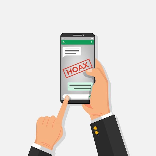 男は、グループチャットメッセージングアプリで広まった偽のニュースを読みます。 Premiumベクター