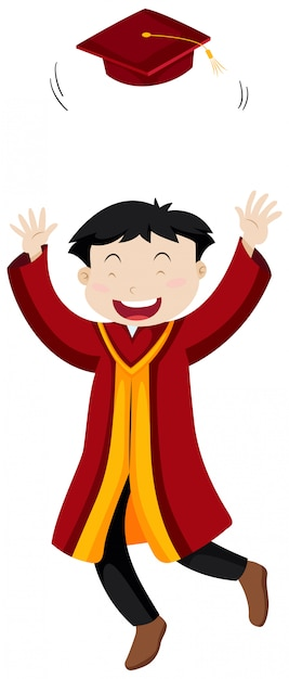 Man in red graduation gown Free Vector