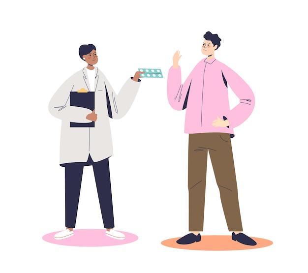 Человек отказывается принимать лекарства и лекарства от врача. концепция отказа от лекарств. мультяшный пациент мужского пола отказывается от наркотиков Premium векторы