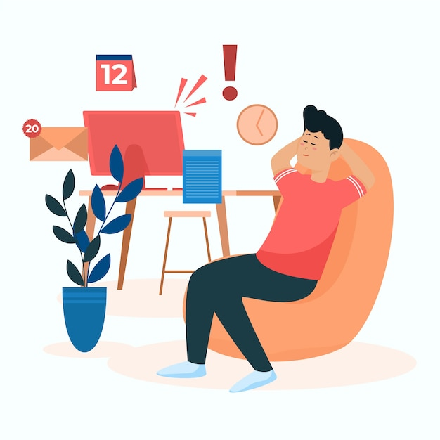 Man relaxing in a chair instead of working Free Vector