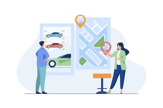 Uomo che noleggia un'auto. app per car sharing, mappa della città con puntatori. illustrazione vettoriale piatto consulente. trasporti, trasporti urbani Vettore gratuito