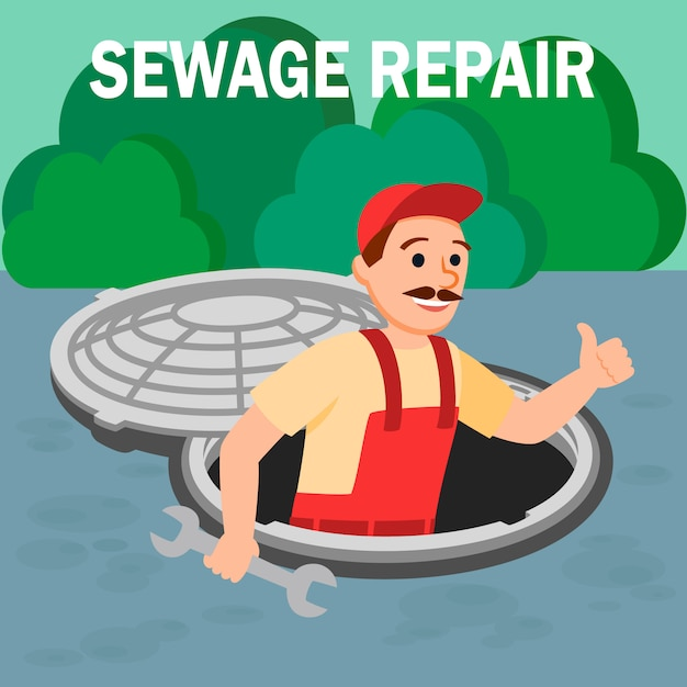 Man repairman with spanner tool in open manhole Premium Vector