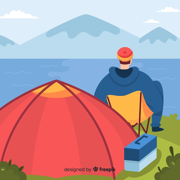 Man resting at the camp Free Vector