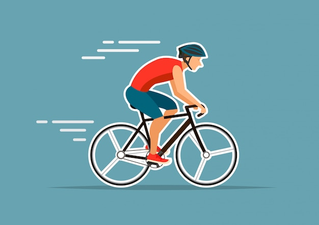 Man ride bike on blue background vector illustrator Vector | Premium
