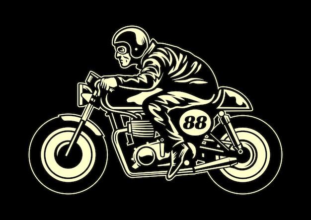 Man ride a cafe racer Premium Vector