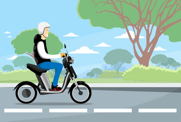 Man ride moped electric scooter Premium Vector