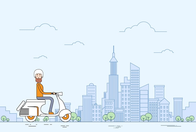 Man ride motorcycle scooter modern city Premium Vector