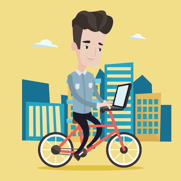 都市図の男乗馬自転車 Premiumベクター