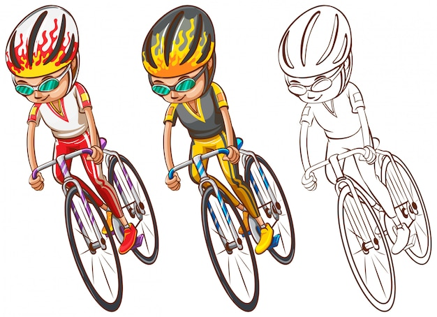 Man riding bicycle in three sketches Free Vector