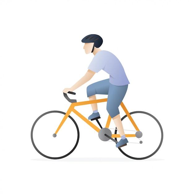 Man riding a bicycle Premium Vector