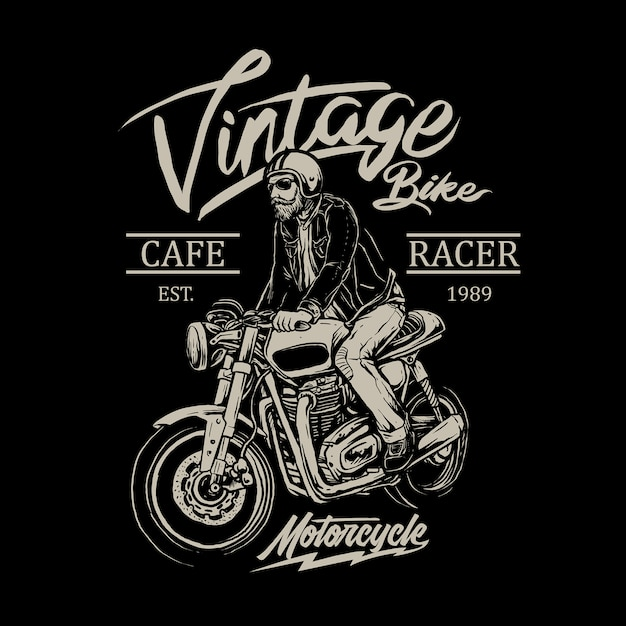 Man riding cafe racer motorcycle  badge Premium Vector